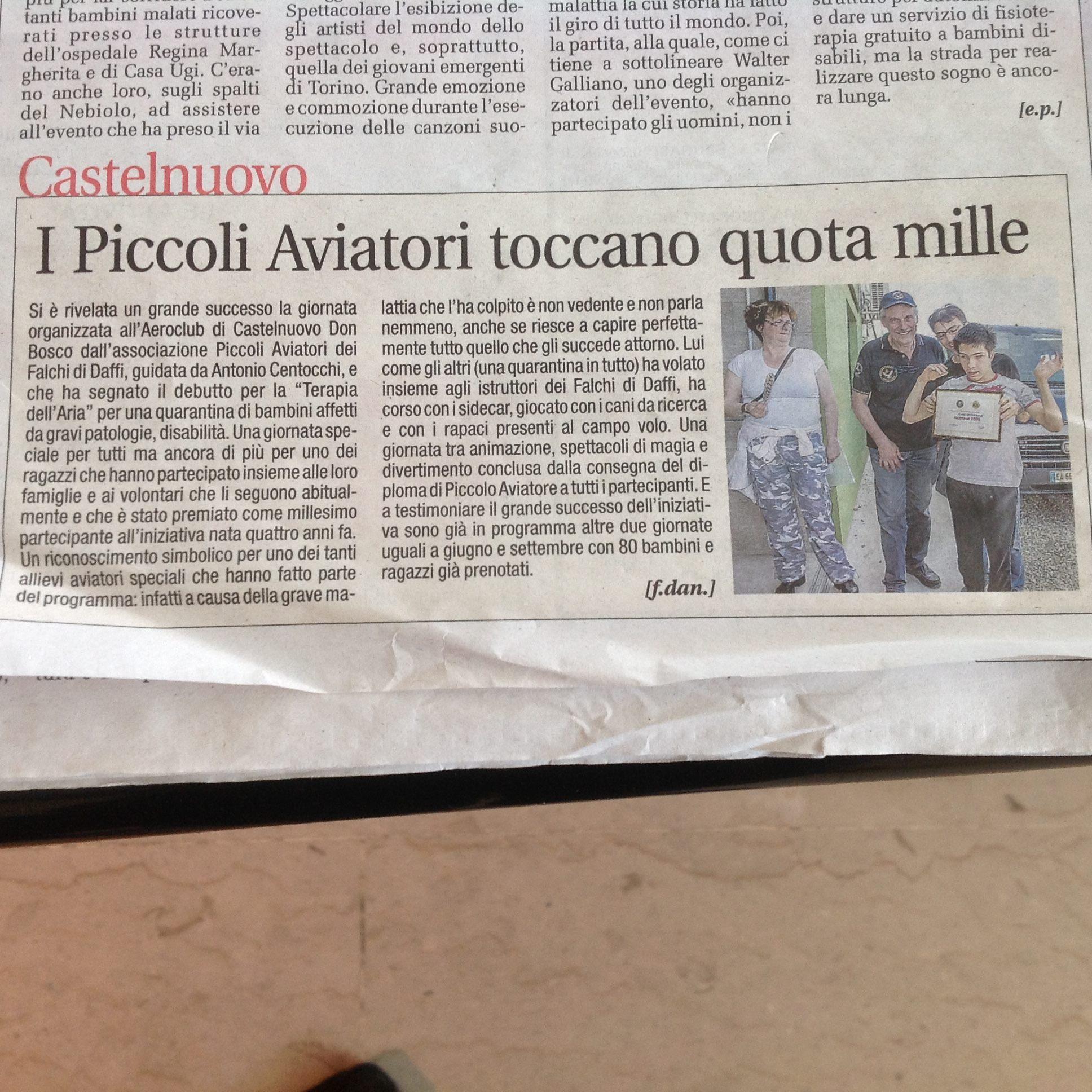 Articolo di Cronaca Qui per Piccoli Aviatori a Castelnuovo don Bosco 2016